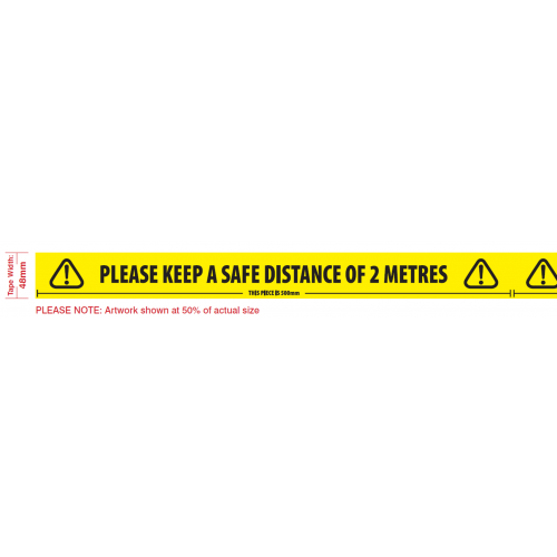 Safe Distance Tape - 48mm x 33m White Laminated Tape Printed yellow/black