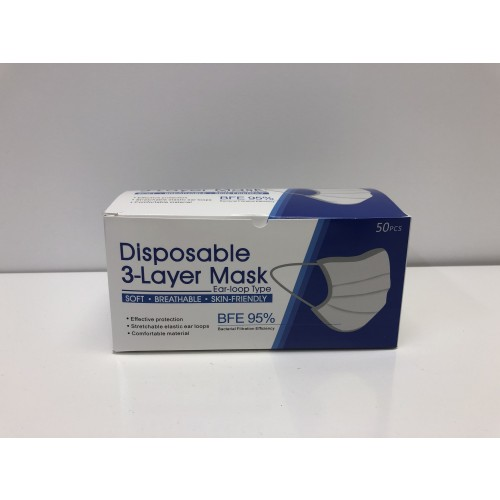 Disposable Face Mask - 3 Ply Type 1  Box of 50