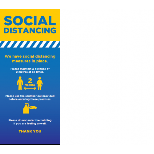 Social Distancing Roller Banner (2 metres and hand washing sign)