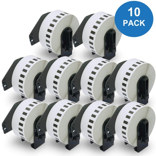 EasyOffice Brother Compatible Black on White Continuous Length Paper Tape 29mm DK22210 - Pack 10