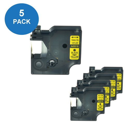 EasyOffice Dymo Compatible Black on Yellow D1 12mm Tape 45018/ S0720580 - 5 Pack