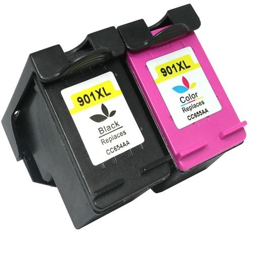 EasyOffice HP 901XL  (CC654A/CC656A) - High Capacity Black & Colour Ink Cartridge- 2 Pack