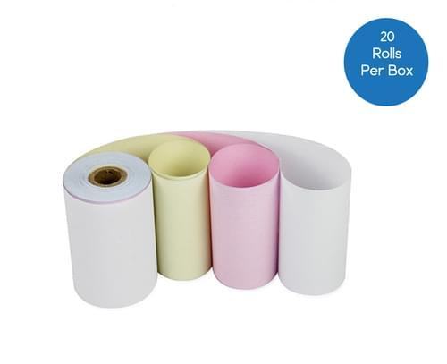 3 Ply 76mm x 76mm Kitchen Printer Rolls - White/Pink/Yellow - Box of 20
