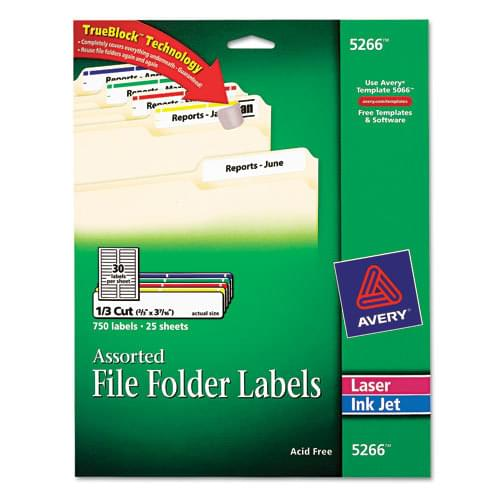 *US IMPORT* Avery - Permanent Adhesive Laser/Inkjet File Folder Labels, Assorted, 750/Pack, Sold As 1 Pk