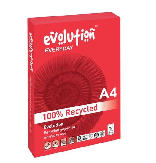 Evolution 100% recycled A4 paper 80gsm