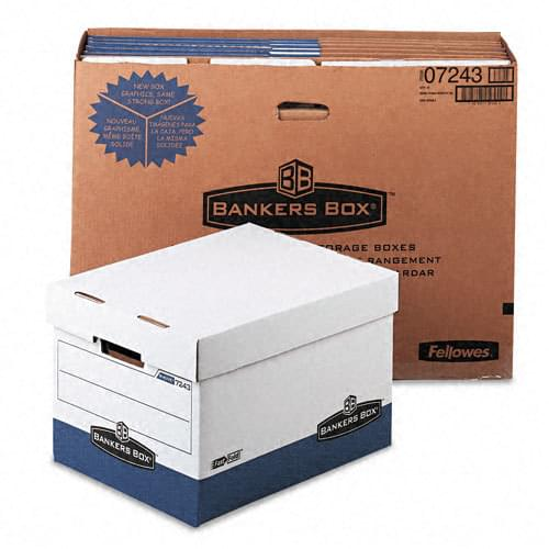 *US IMPORT* Bankers Box - R-Kive Max Storage Box, Letter/Legal, Locking Lid, White/Blue, 12/Carton, Sold As 1 Ct, Sold As 1 Ct Internal dimensions 12'' x 15'' x 10''