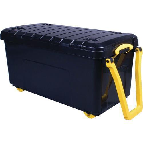 Really Useful Products 160L Box Black with Wheels (W500 x D1050 x H500 mm)