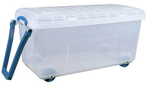 Really Useful Products 160L Box Clear with Wheels (W500 x D1050 x H500 mm)