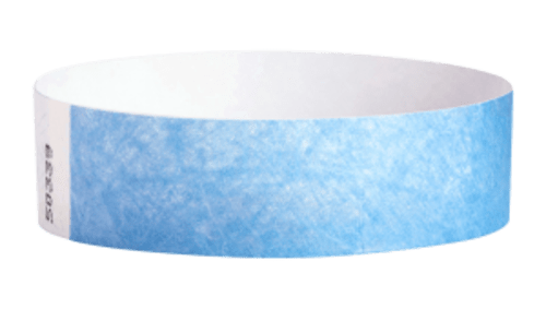 Tyvek Wrist Bands Light Blue Pk 100