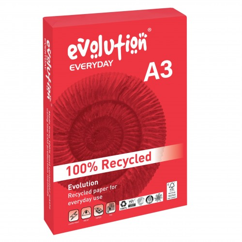 Evolution 100% recycled A3 paper 80gsm