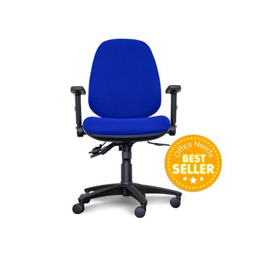 Alpha High Back Operator Chair, Lumbar support, Arms, BLUE