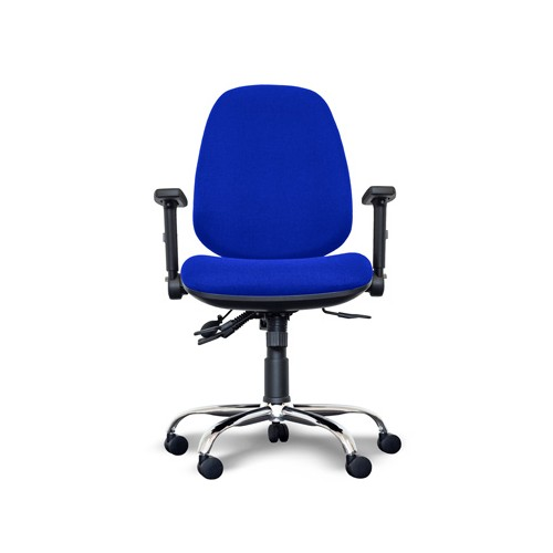 Alpha High Back Operator Chair with Lumbar Support, Adjustable Arms, Chrome Base - Blue