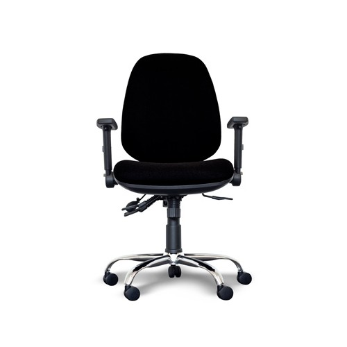 Alpha High Back Operator Chair with Lumbar Support, Adjustable Arms, Chrome Base - Black