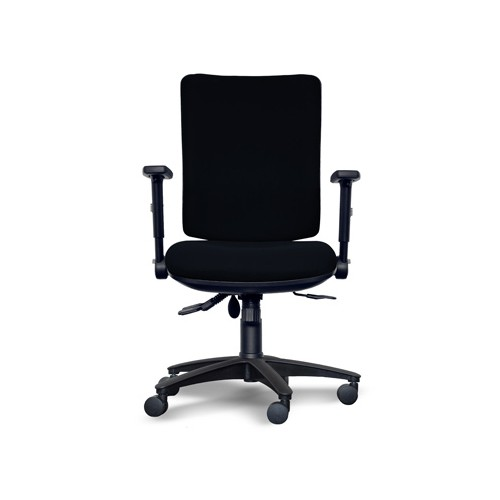 Alpha Square Back Operator Chair with Lumbar support, Adjustable Arms - Black