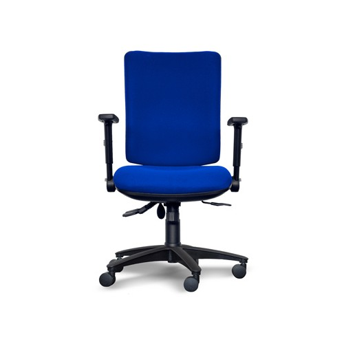 Alpha Square Back Operator Chair with Lumbar support, Adjustable Arms - Blue