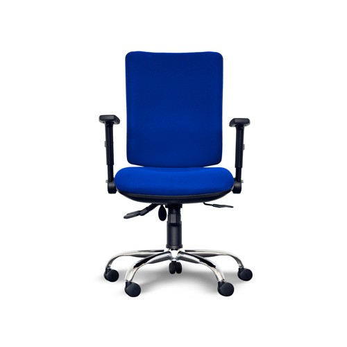 Alpha Square Back Operator Chair with Lumbar Support, Adjustable Arms, Chrome Base - Blue