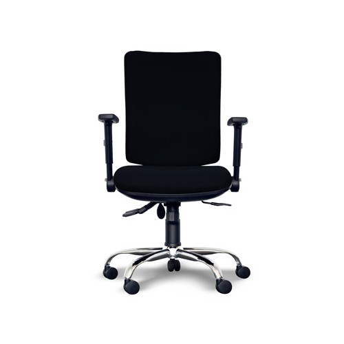 Alpha Square Back Operator Chair with Lumbar Support, Adjustable Arms, Chrome Base - Black