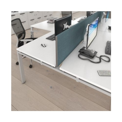 SFP1200-S - Straight desktop fabric screen with silver end profiles 1200mm x 400mm