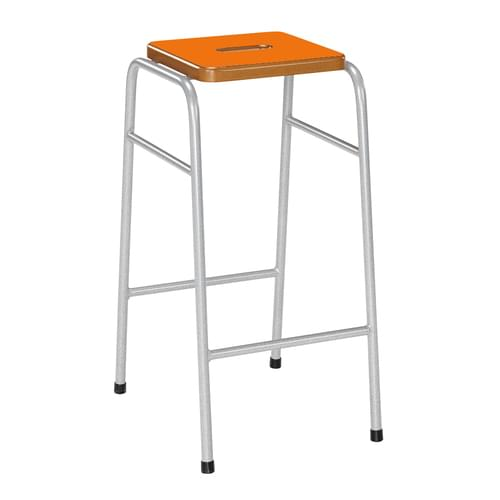 Metalliform 25 Series Traditional Classroom Stacking Stool - 620mm High - Orange Flame