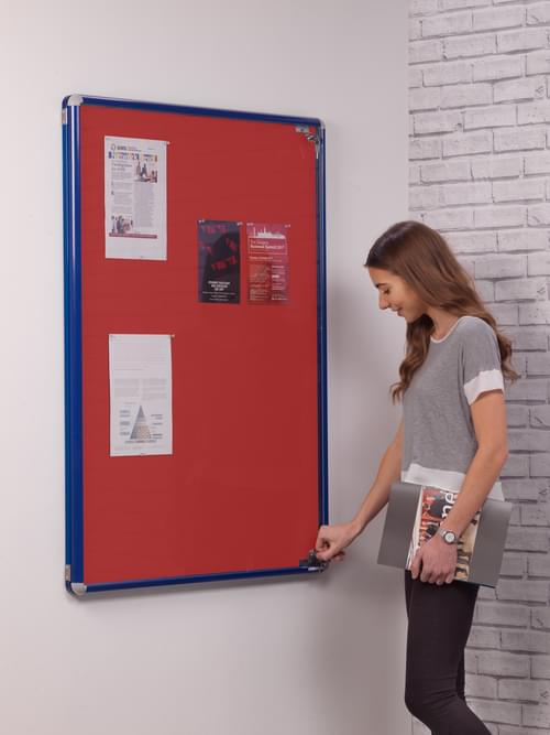 Spaceright SmartShield Flame Retardant Tamperproof  Shatterproof Notice board - 900 x 1200mm - Blue/Red