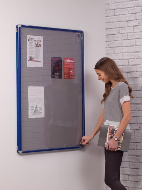 Spaceright SmartShield Flame Retardant Tamperproof  Shatterproof Notice board - 1800 x 1200mm - Blue/Grey