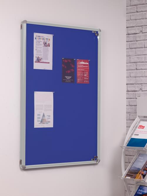 Spaceright SmartShield Flame Retardant Tamperproof  Shatterproof Notice board - 600 x 900mm - Aluminium/Blue