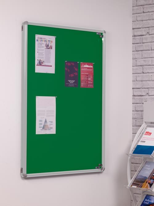Spaceright SmartShield Flame Retardant Tamperproof  Shatterproof Notice board - 1800 x 1200mm - Aluminium/Green