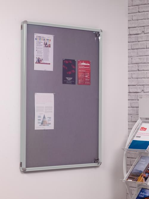 Spaceright SmartShield Flame Retardant Tamperproof  Shatterproof Notice board - 600 x 900mm - Aluminium/Grey