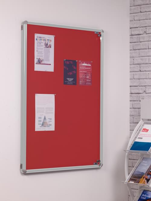 SmartShield Flame Retardant Tamperproof  Shatterproof Notice board - 600 x 900mm - Aluminium/Red