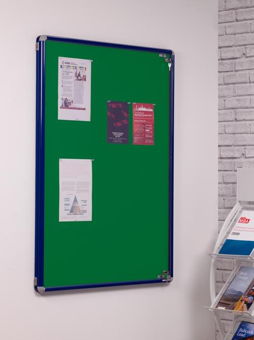 Spaceright SmartShield Flame Retardant Tamperproof  Shatterproof Notice board - 900 x 1200mm - Blue/Green
