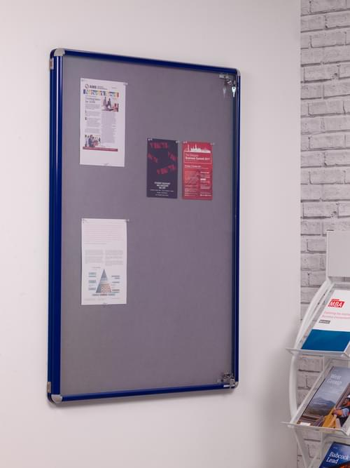 Spaceright SmartShield Flame Retardant Tamperproof  Shatterproof Notice board - 900 x 1200mm - Blue/Grey