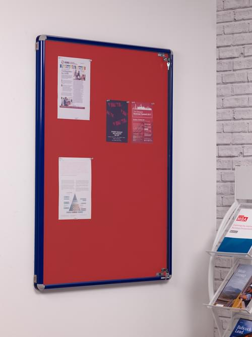Spaceright SmartShield Flame Retardant Tamperproof  Shatterproof Notice board - 600 x 900mm - Blue/Red