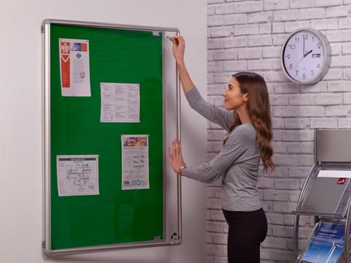 Spaceright SmartShield Flame Retardant Tamperproof  Shatterproof Notice board - 600 x 900mm - Aluminium/Green