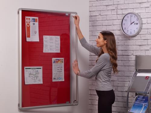 Spaceright SmartShield Flame Retardant Tamperproof  Shatterproof Notice board - 600 x 900mm - Aluminium/Red