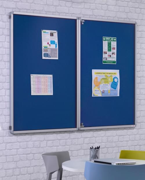 Spaceright FlameShield Tamperproof Noticeboard 900 x 1200mm - BLUE