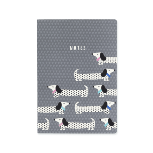 Sausage Dog A5 Deluxe Notebook - Grey
