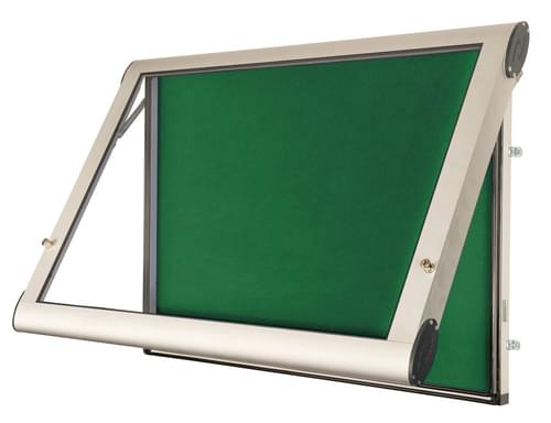 Spaceright Weather Shield Internal Showcase Notice Board (1400mm x 1000mm) - Aluminium/Green
