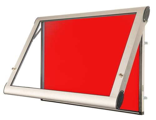 Spaceright Weather Shield Internal Showcase Notice Board (1200mm x 1000mm) - Aluminium/Red
