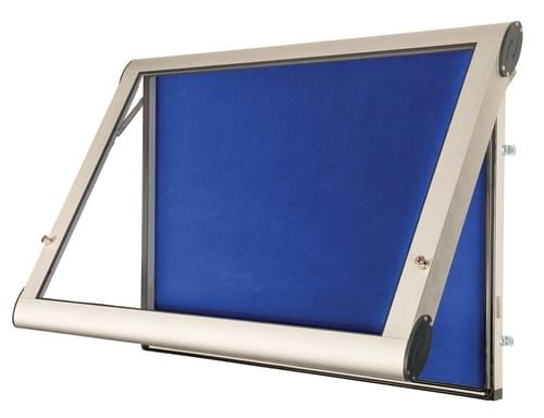 Spaceright Weather Shield Internal Showcase Notice Board (750mm x 550mm) - Aluminium/Blue