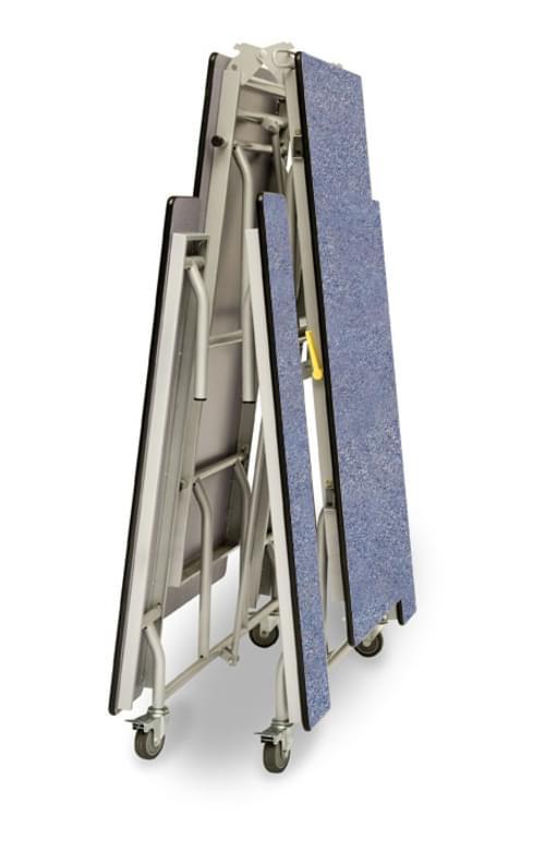 Spaceright Rectangular Mobile Folding Secondary School Bench Unit - Blue/Grey
