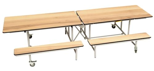 Spaceright Rectangular Mobile Folding Primary School Bench Unit - Maple