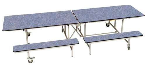 Spaceright Rectangular Mobile Folding Primary School Bench Unit - Blue/Grey