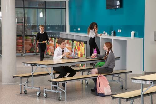 Spaceright Mobile Convertible Secondary School Folding Bench Unit - Grey Fleck