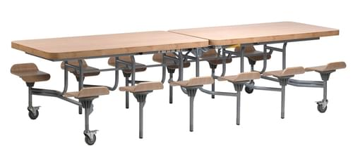 12 Seat Primo Mobile Folding Dining Table with Seats - Oak