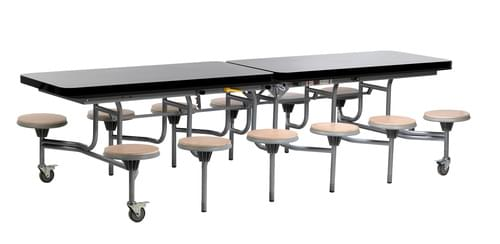 12 Seat Primo Mobile Folding Dining Table with Stools - Black Gloss