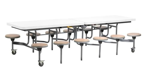 12 Seat Primo Mobile Folding Dining Table with Stools - White Gloss