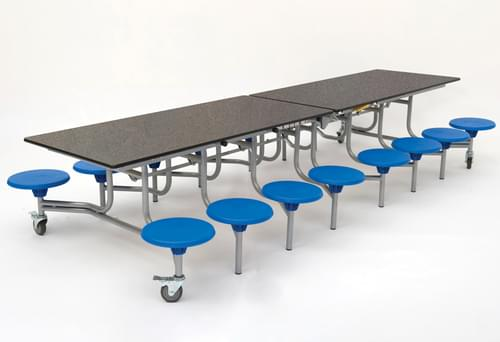Spaceright 16 Sixteen Seat Rectangular Mobile Folding School Dining Table - Grey Fleck