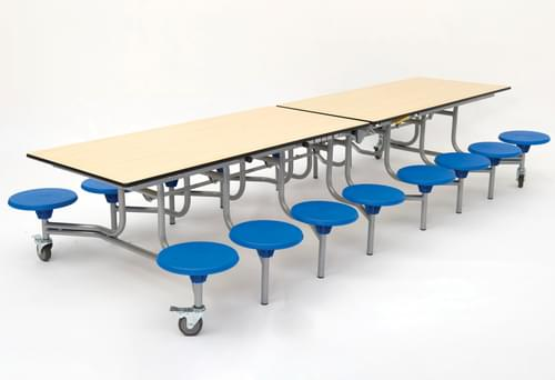 Spaceright 16 Sixteen Seat Rectangular Mobile Folding School Dining Table - Maple Top