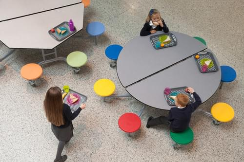 Spaceright Round Mobile Folding Primary School Dining Table Grey Fleck with 8 Seats - 685mm High