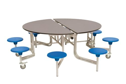 Spaceright Round Mobile Folding Primary School Dining Table Blue/Grey with 8 Seats - 685mm High